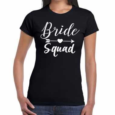 Feestwinkel | bride squad fun t-shirt zwart voor dames morgen amsterd