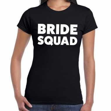 Feestwinkel   bride squad fun t-shirt zwart voor dames morgen amsterd