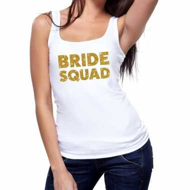 Feestwinkel | bride squad fun tanktop glitter tekst wit voor dames mo