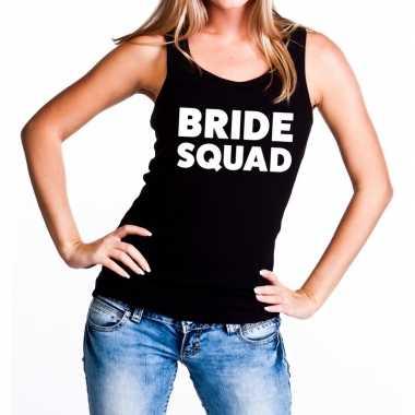 Feestwinkel | bride squad fun tanktop zwart voor dames morgen amsterd