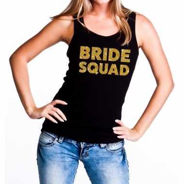 Feestwinkel | bride squad goldfun tanktop zwart voor dames morgen ams