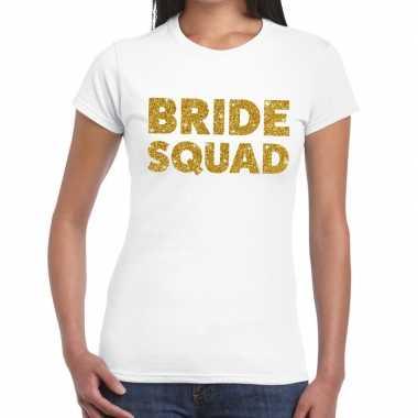 Feestwinkel | bride squad goud fun t-shirt wit voor dames morgen amst