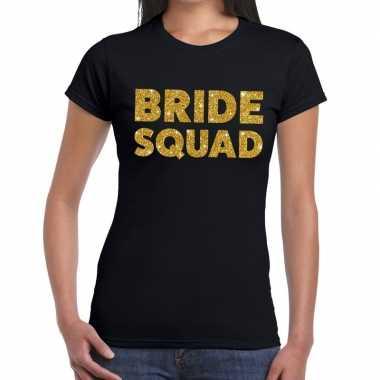 Feestwinkel | bride squad goud fun t-shirt zwart voor dames morgen am
