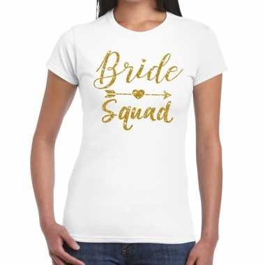 Feestwinkel | bride squad gouden letters fun t-shirt wit voor dames m