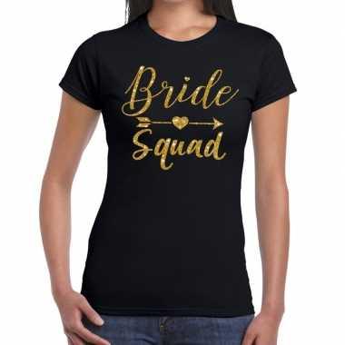 Feestwinkel | bride squad gouden letters fun t-shirt zwart voor dames