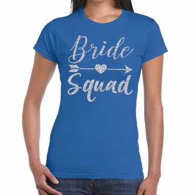 Feestwinkel | bride squad zilveren letters fun t-shirt blauw voor dam