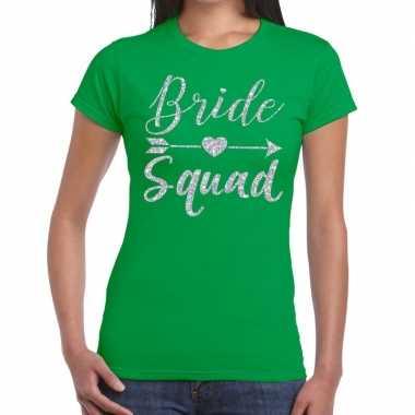 Feestwinkel | bride squad zilveren letters fun t-shirt groen voor dam