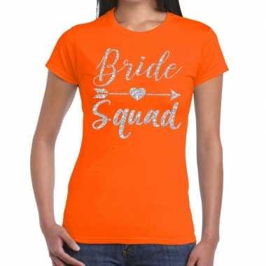 Feestwinkel   bride squad zilveren letters fun t-shirt oranje voor da