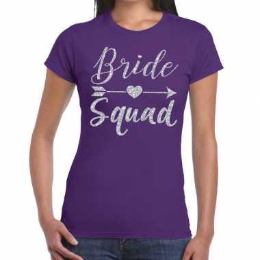 Feestwinkel | bride squad zilveren letters fun t-shirt paars voor dam