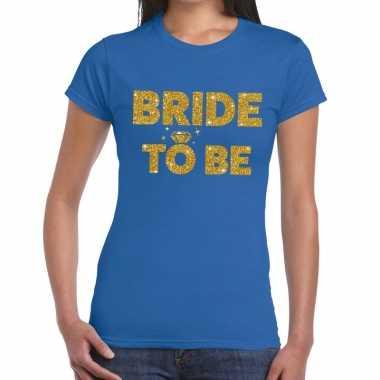 Feestwinkel | bride to be fun t-shirt blauw voor dames morgen amsterd