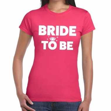 Feestwinkel | bride to be fun t-shirt roze voor dames morgen amsterda
