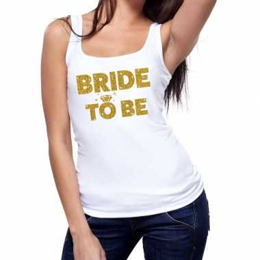 Feestwinkel | bride to be fun tanktop glitter tekst wit voor dames mo