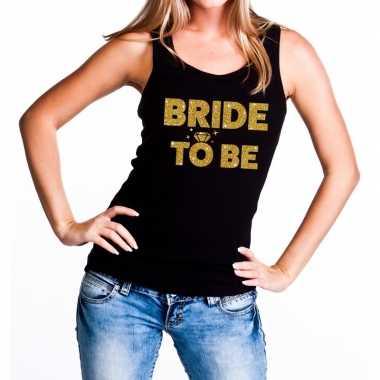 Feestwinkel | bride to be fun tanktop glitter tekst zwart voor dames