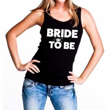 Feestwinkel | bride to be fun tanktop zwart voor dames morgen amsterd