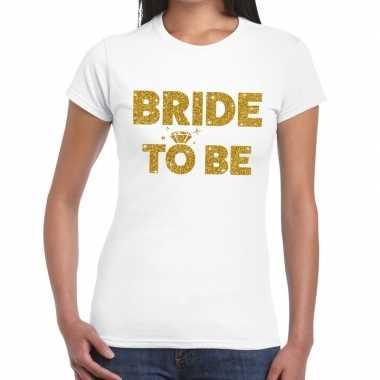 Feestwinkel | bride to be goud fun t-shirt wit voor dames morgen amst