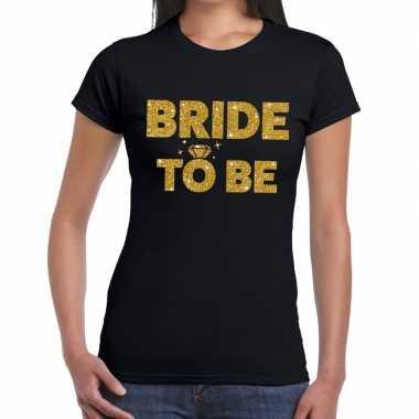 Feestwinkel | bride to be goud fun t-shirt zwart voor dames morgen am