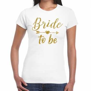 Feestwinkel | bride to be gouden letters fun t-shirt wit voor dames m