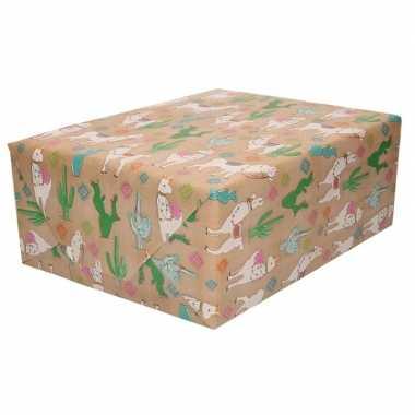 Feestwinkel | bruin cadeaupapier alpaca print 70 x 200 cm morgen amst