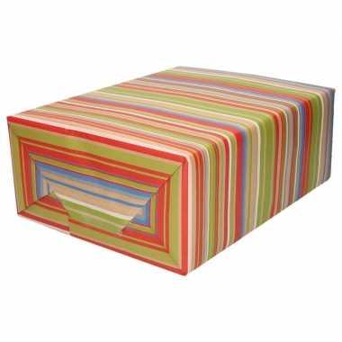 Feestwinkel | bruin cadeaupapier gekleurde strepen 70 x 200 cm morgen