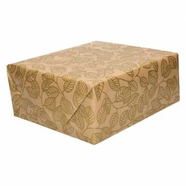 Feestwinkel | bruin cadeaupapier gouden blaadjes print 70 x 200 cm mo