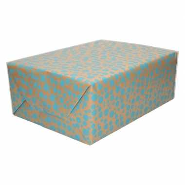Feestwinkel | bruin cadeaupapier met blauwe stippen print 70 x 200 cm