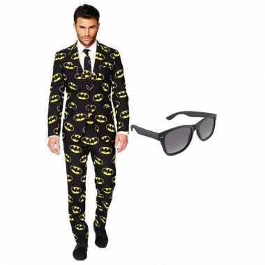 Carnavalskostuum batman heren pak 56 xxxl met gratis zonnebril