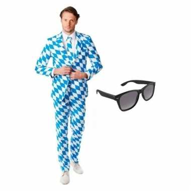 Carnavalskostuum heren beierse print pak 50 l met gratis zonnebril