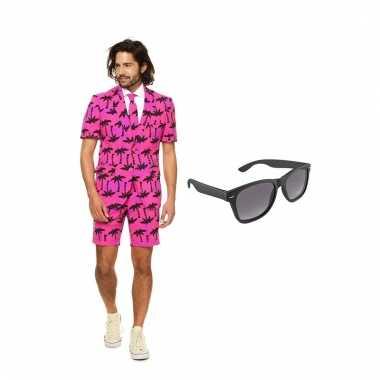 Carnavalskostuum palmbomen zomer heren pak 52 xl met gratis zonnebril