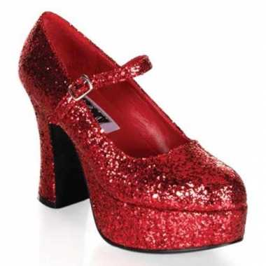 Dames glitterschoenen rood