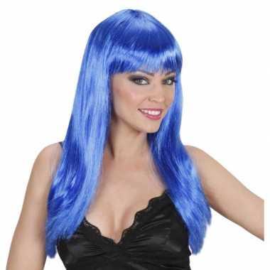 Damespruik blauw stijl haar