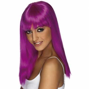 Damespruik paars stijl haar