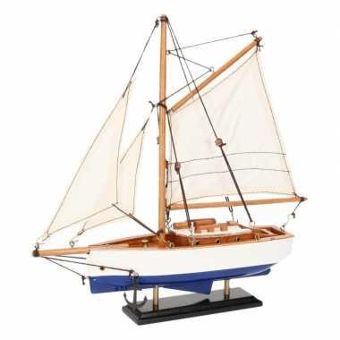 Feestwinkel | decoratie zeilboot blauw met wit 23 cm morgen amsterdam