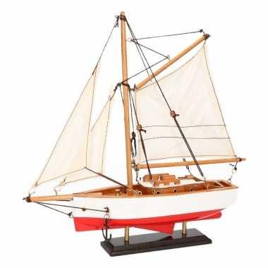 Feestwinkel | decoratie zeilboot rood met wit 23 cm morgen amsterdam