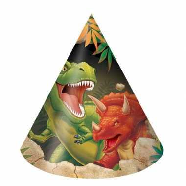 Dinosaurus thema feesthoedjes 8 stuks