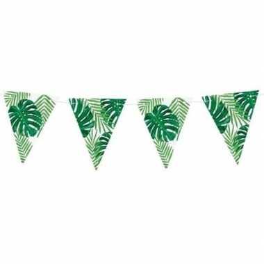 Feestwinkel | feest vlaggenlijn met monstera en palm bladeren 150 cm