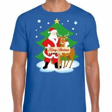Feestwinkel | fout kerstmis shirt blauw met de kerstman en rudolf voo