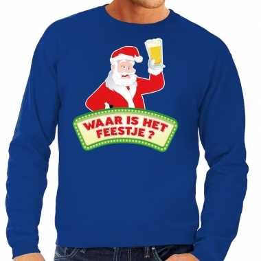 Feestwinkel | foute kerst sweater blauw dronken kerstman met bier her