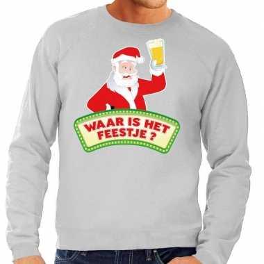 Feestwinkel | foute kerst sweater grijs dronken kerstman met bier her