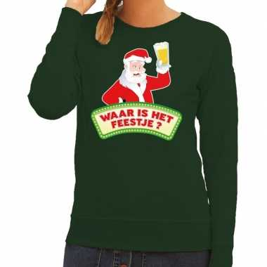 Feestwinkel | foute kerst sweater groen dronken kerstman met bier dam