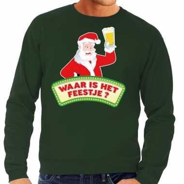 Feestwinkel | foute kerst sweater groen dronken kerstman met bier her