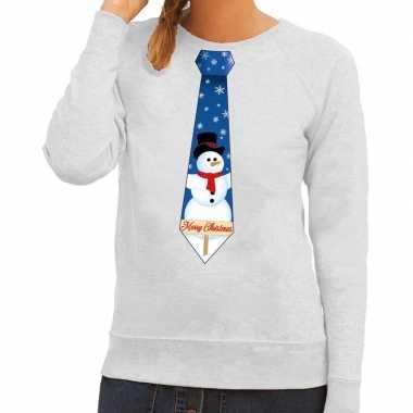 Feestwinkel | foute kerst sweater met sneeuwpop stropdas grijs voor d