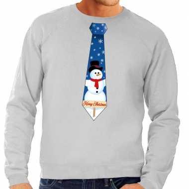 Feestwinkel | foute kerst sweater met sneeuwpop stropdas grijs voor h