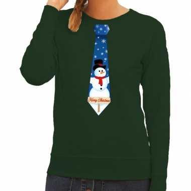 Feestwinkel | foute kerst sweater met sneeuwpop stropdas groen voor d
