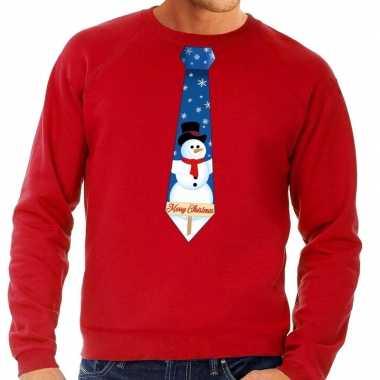 Feestwinkel | foute kerst sweater met sneeuwpop stropdas rood voor he