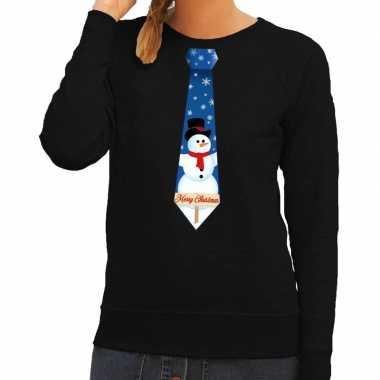 Feestwinkel | foute kerst sweater met sneeuwpop stropdas zwart voor d