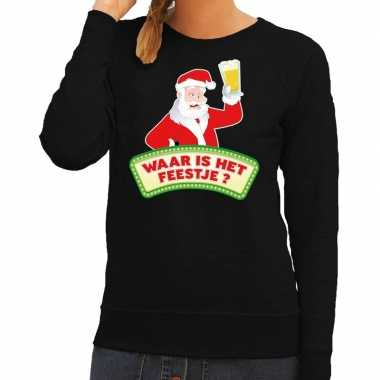 Feestwinkel | foute kerst sweater zwart dronken kerstman met bier dam