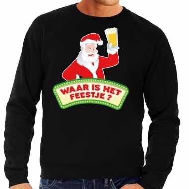 Feestwinkel | foute kerst sweater zwart dronken kerstman met bier her