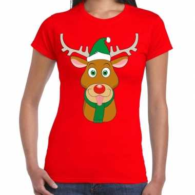 Feestwinkel | foute kerst t-shirt rood met ruldolf het rendier met gr