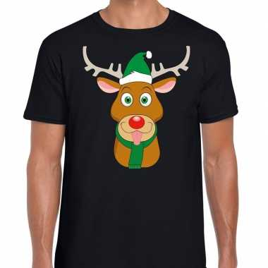 Feestwinkel   foute kerst t-shirt zwart met ruldolf het rendier met g