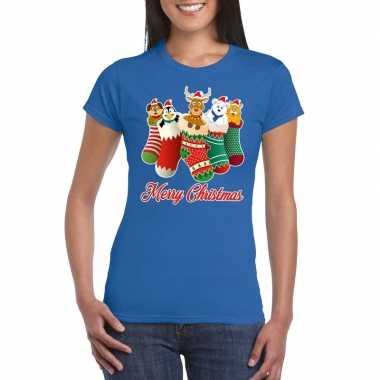 Feestwinkel | foute kerstborrel t-shirt blauw kerstsokken met diertje